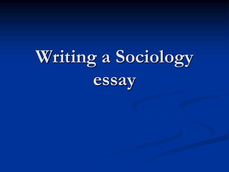 Writing sociology papers