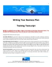 Writing Your Business Plan - Traini...