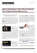 Www.batteryfast.co.uk Battery Technology : Top 3 Tips To Extend Your Digital Camera Battery's Life