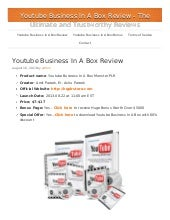 Youtube Business In a Box Review - ...