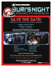 Space Foundation Yuri's Night -- Save the Date:  10 April 2016