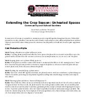 Extending the Crop Season - Unheated Spaces in Community and School Gardens, Gardening Guide for Georgia
