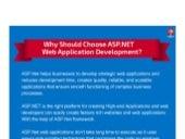 Why Should Choose ASP.NET Web Application Development? – Infographics
