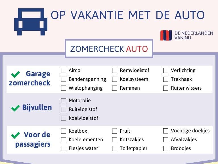 Infographic Checklist Vakantie Met Auto