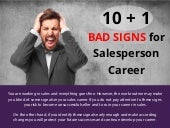 10+1 Bad Signes for Salesperson Career Infographic