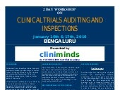 Clinical Trials Auditing And Inspections   January 16th & 17th, 2010