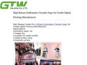 High release sublimation transfer paper for textil Digital Printing (Manufacture)