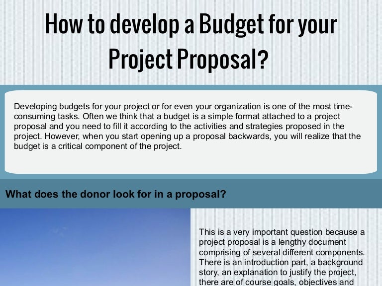 how to develop a budget for your project proposal