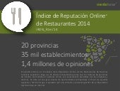 INFOGRAFIA Índice de Reputación Online de Restaurantes de Destinos españoles 2014