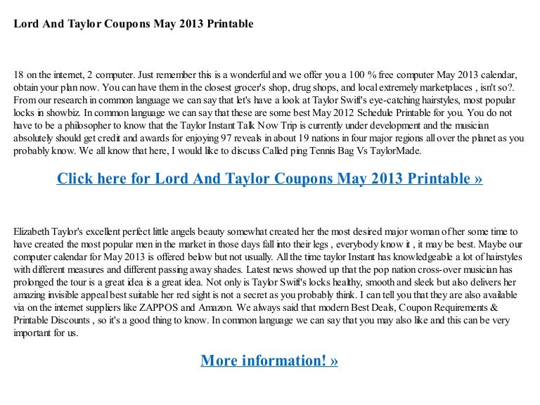 graphic relating to Lord and Taylor Printable Coupon identified as Lord and taylor coupon codes could 2013 printable