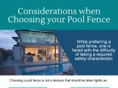 What to Consider when Choosing your Pool Fence