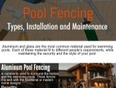 Pool Fencing - Types, Installation and Maintenance