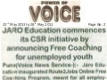 """JARO Education commences its CSR  initiative by announcing Free Coaching for unemployed youth"""