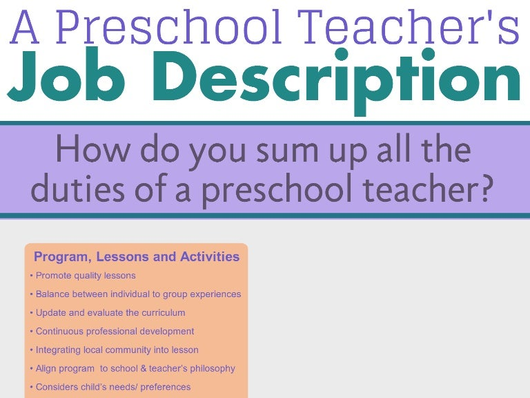 early childhood teacher job description