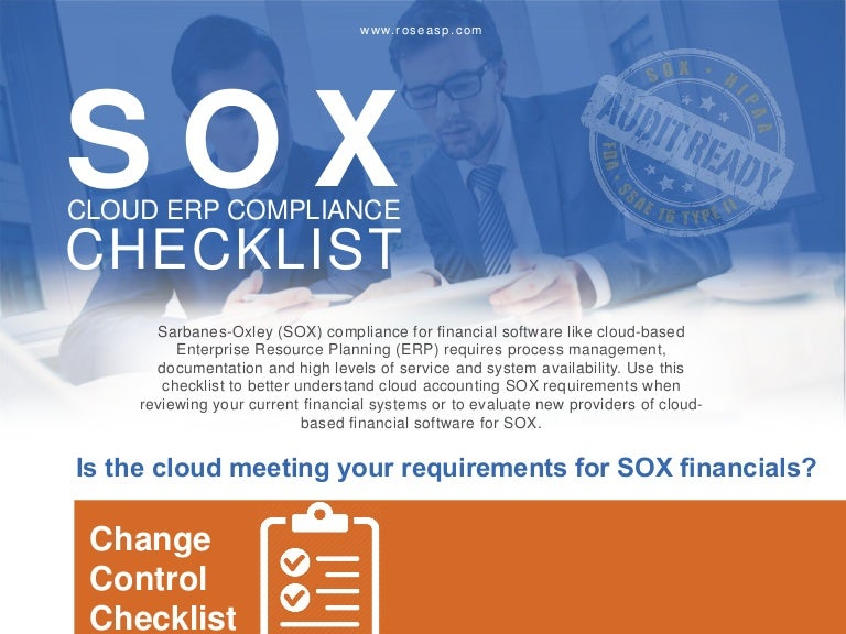 checklist sox compliance and cloud financials - Sox Process Documentation