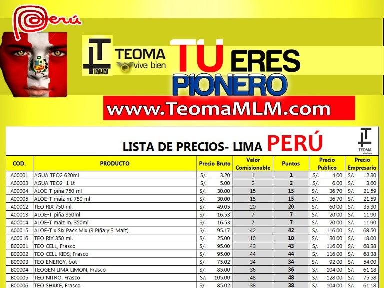 Teoma Lista de Precios Perú