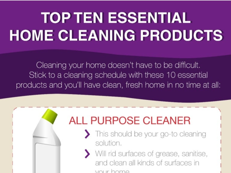 Essential Home Products top 10 essential home cleaning products infographic