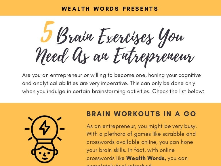 Top 5 brain exercises that you need as an entrepreneur