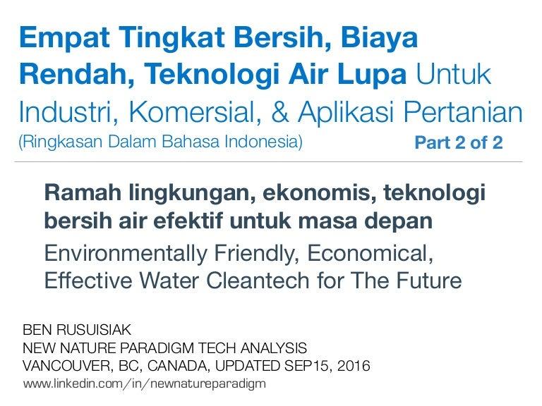 Empat Tingkat Bersih Biaya Rendah Teknologi Air Lupa Untuk Industri