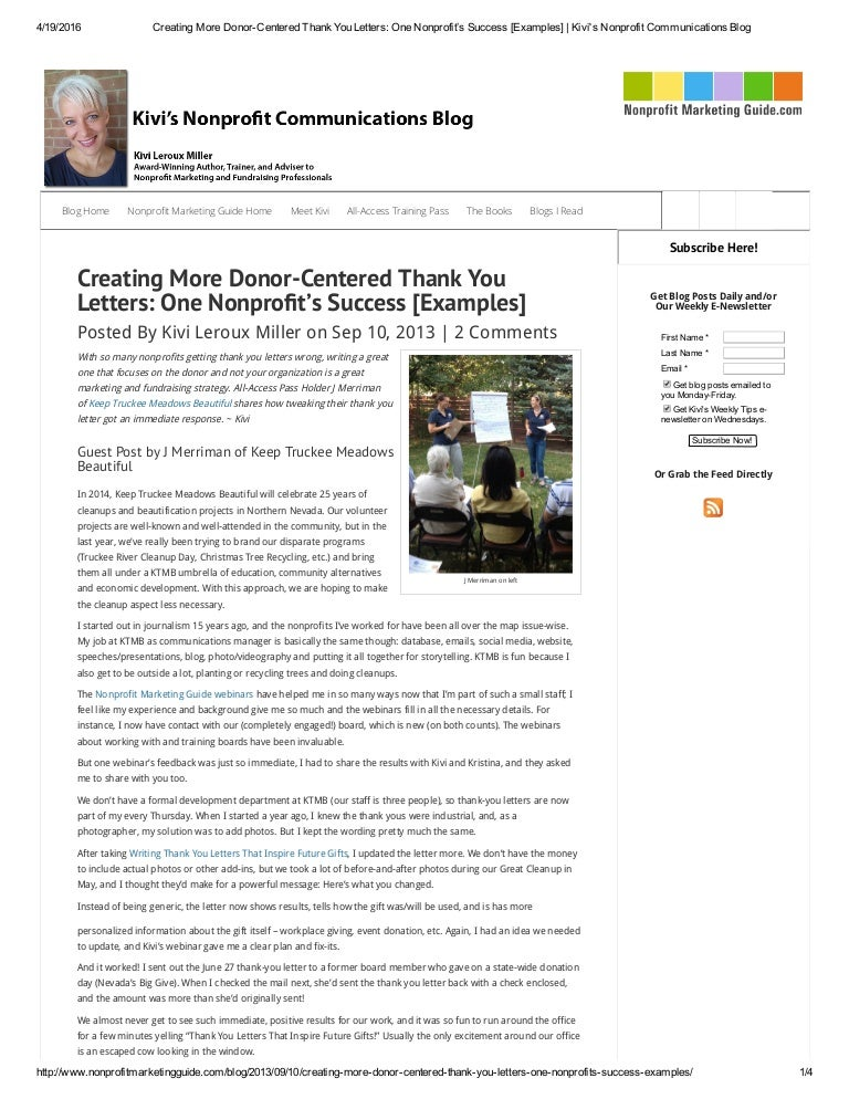 Creating More DonorCentered Thank You Letters One NonprofitS Succe