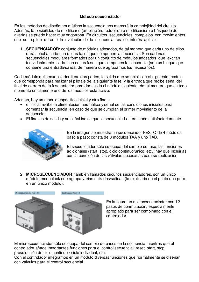 Circuito Neumatico Simple : Diseño de circuitos neumaticos metodo secuenciador
