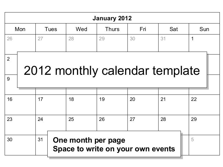 00839 2012 Monthly Calendar Template