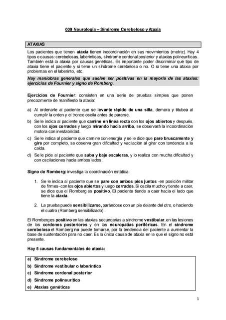 009 a neurología síndrome cerebeloso y ataxia