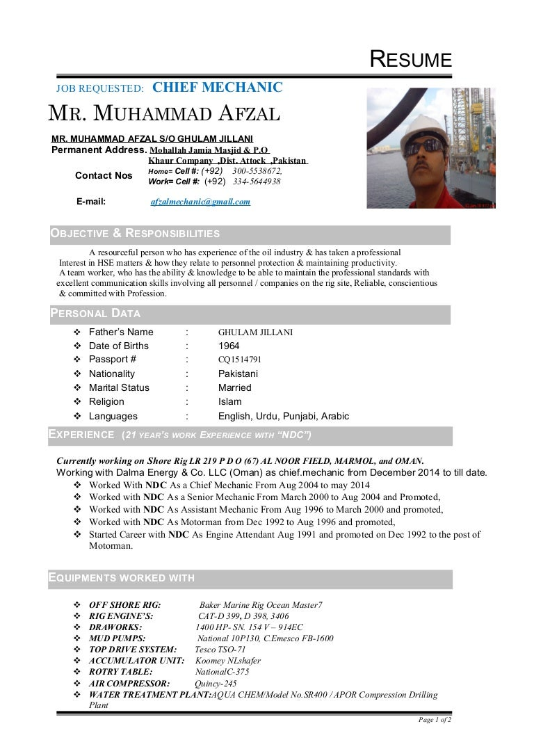 afzal chief mechanic cv
