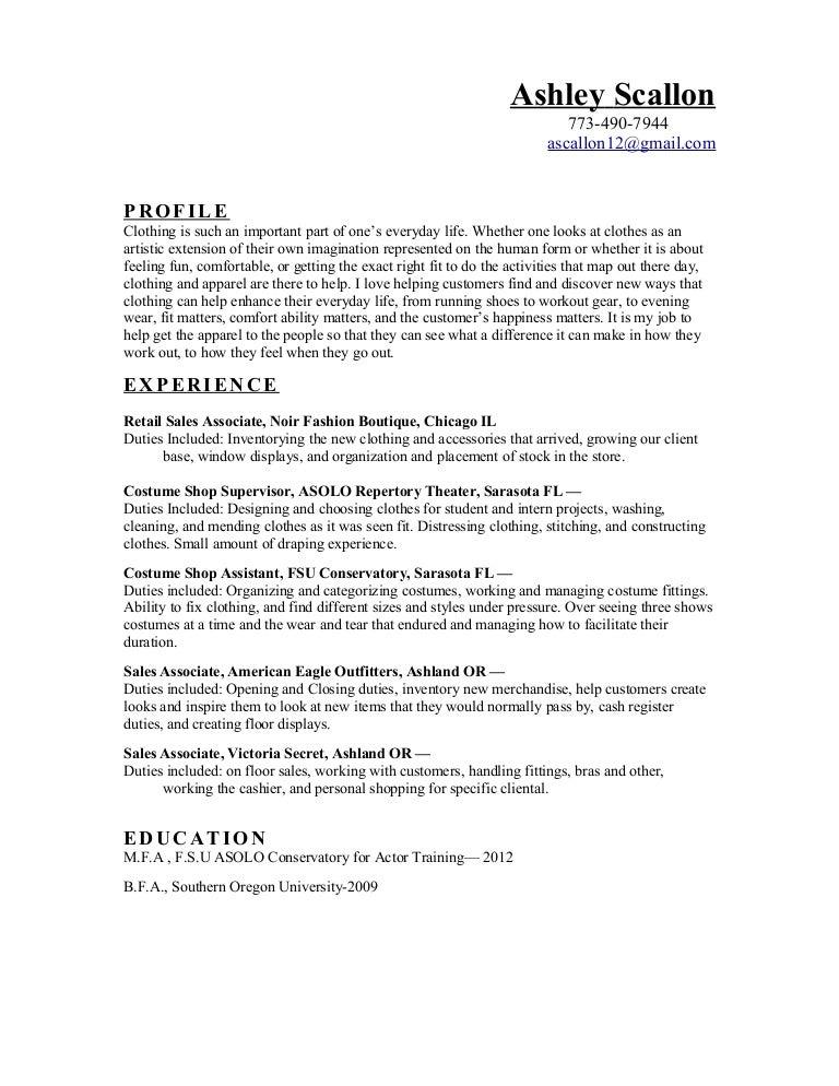 Clothing Resume