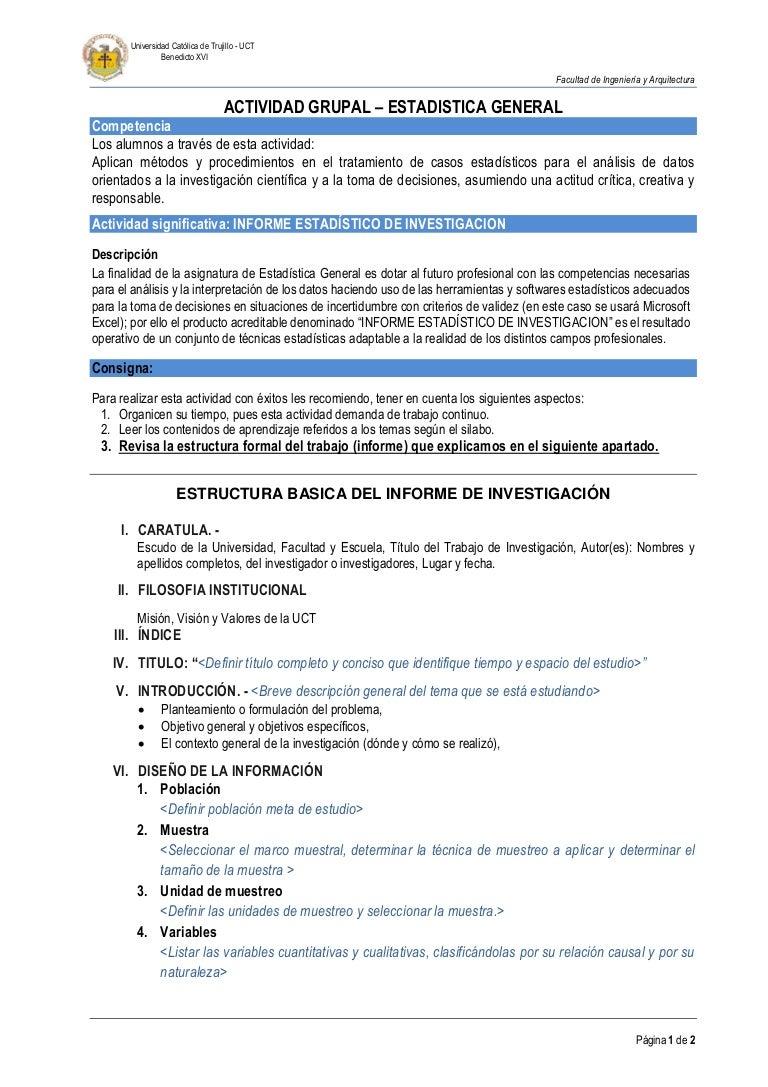 Estructura Trabajo de APLICACIÓN Estadística General