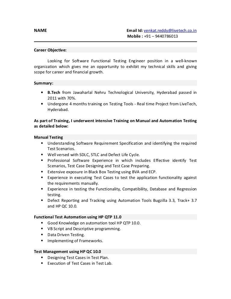 Sample Resume Software Testing Freshers Software Testing