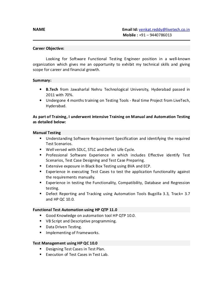 qtp resume sample. 01 testing fresher resume .