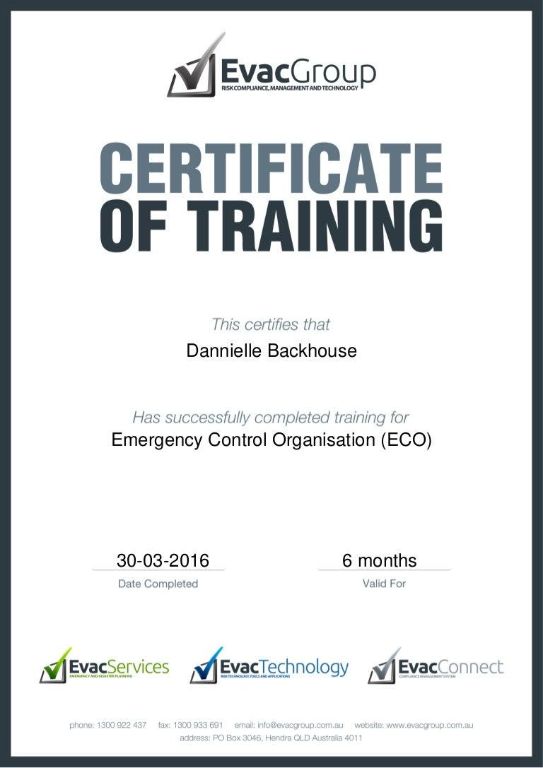 Certificate of training emergence control organisation eco xflitez Choice Image