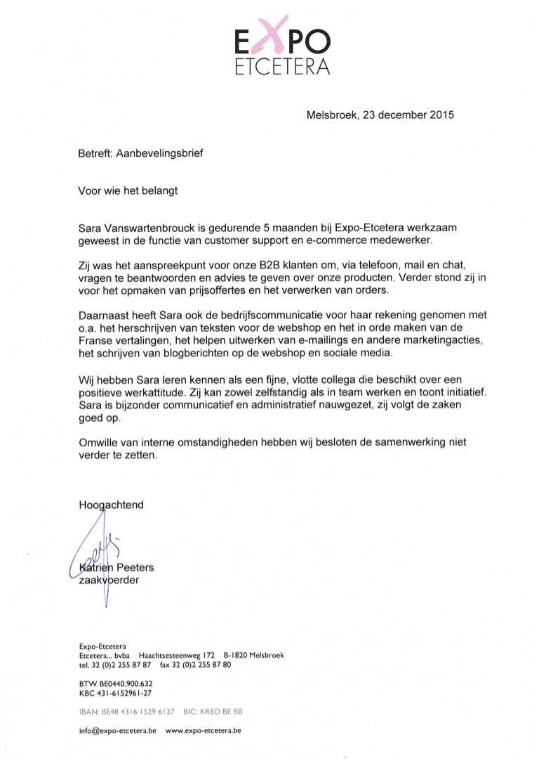 Aanbevelingsbrief Expo Etcetera
