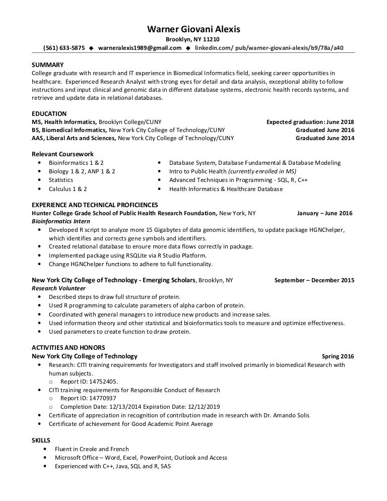 Informatics resume writing service packages