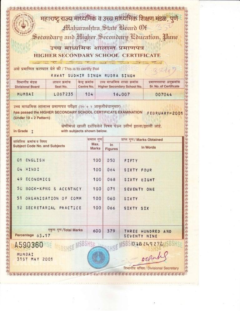 Certificate 12 STD