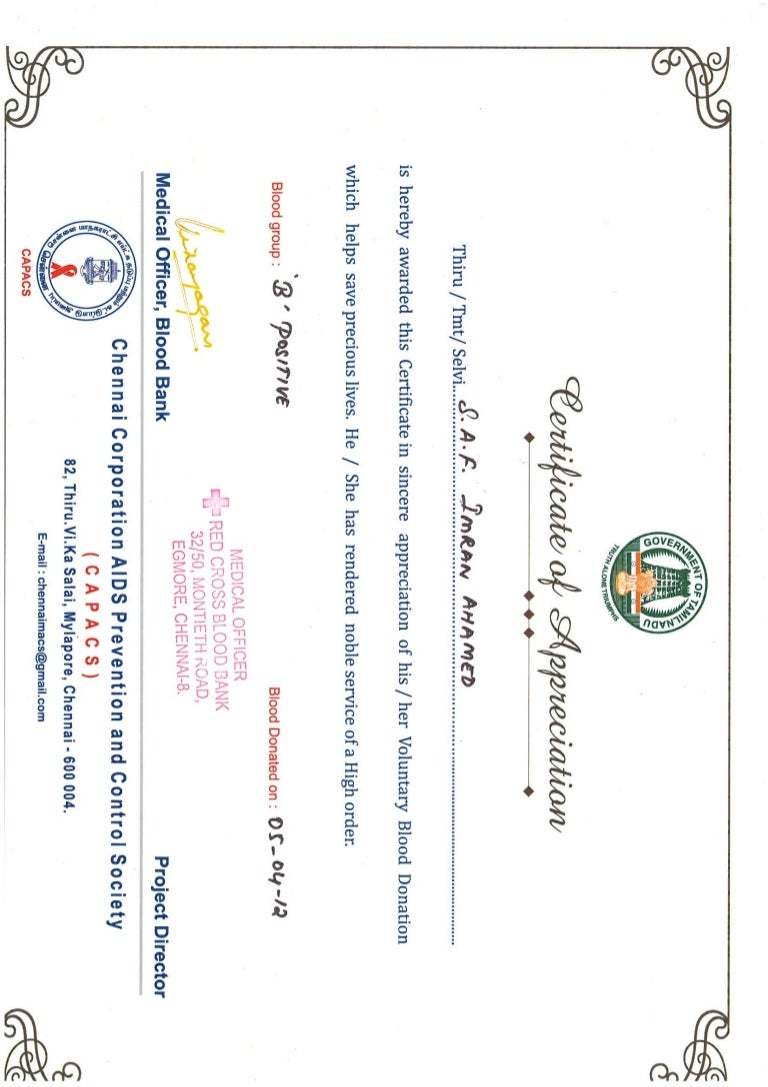 Imran Saf Blood Donation Certificate 05 Apr 12