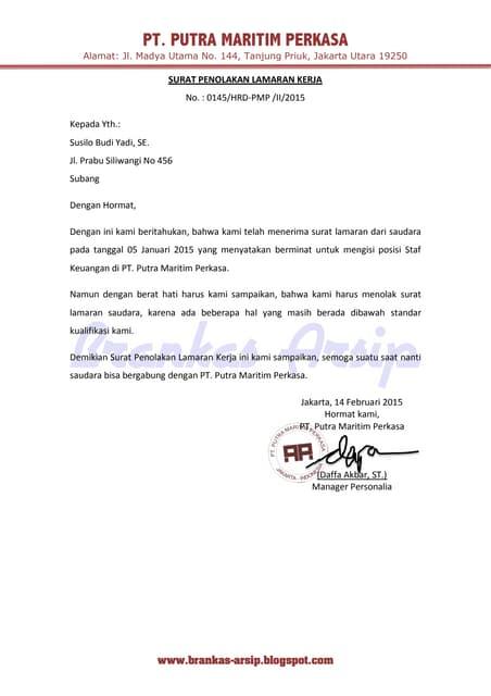 Contoh Surat Penolakan Lamaran Kerja