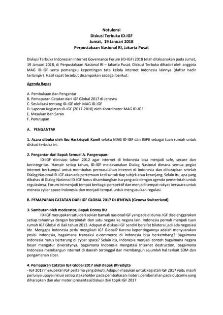 NOTULENSI DISKUSI TERBUKA ID-IGF