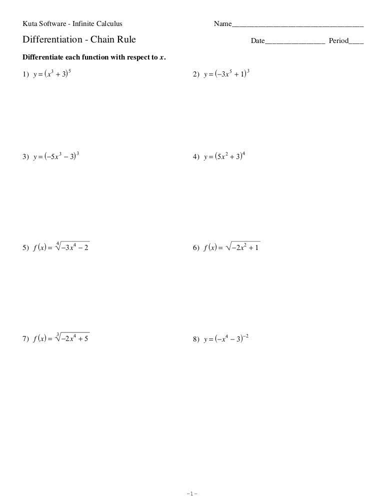 Derivative worksheet1 – Chain Rule Worksheet