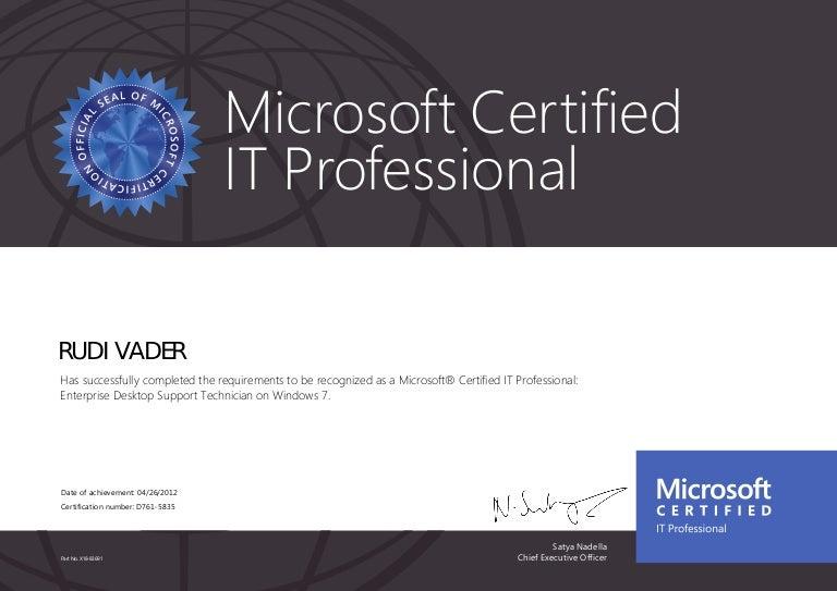 Microsoft Certified It Professional Enterprise Desktop Support Tech