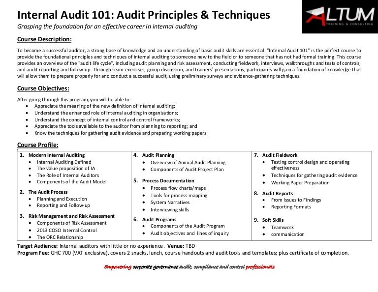 Internal Audit  Principles And Techniques