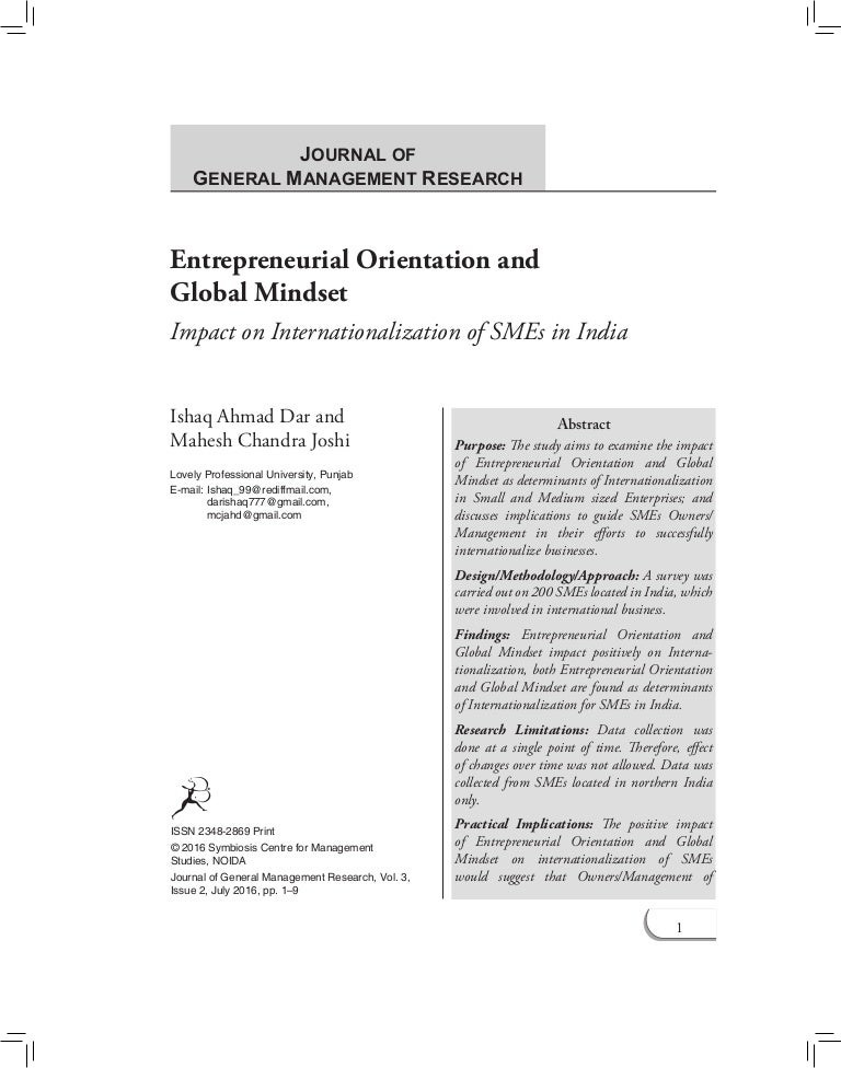entrepreneurial orientation and global mindset impact on internation rh slideshare net Time Management Study Property Management Study Guide