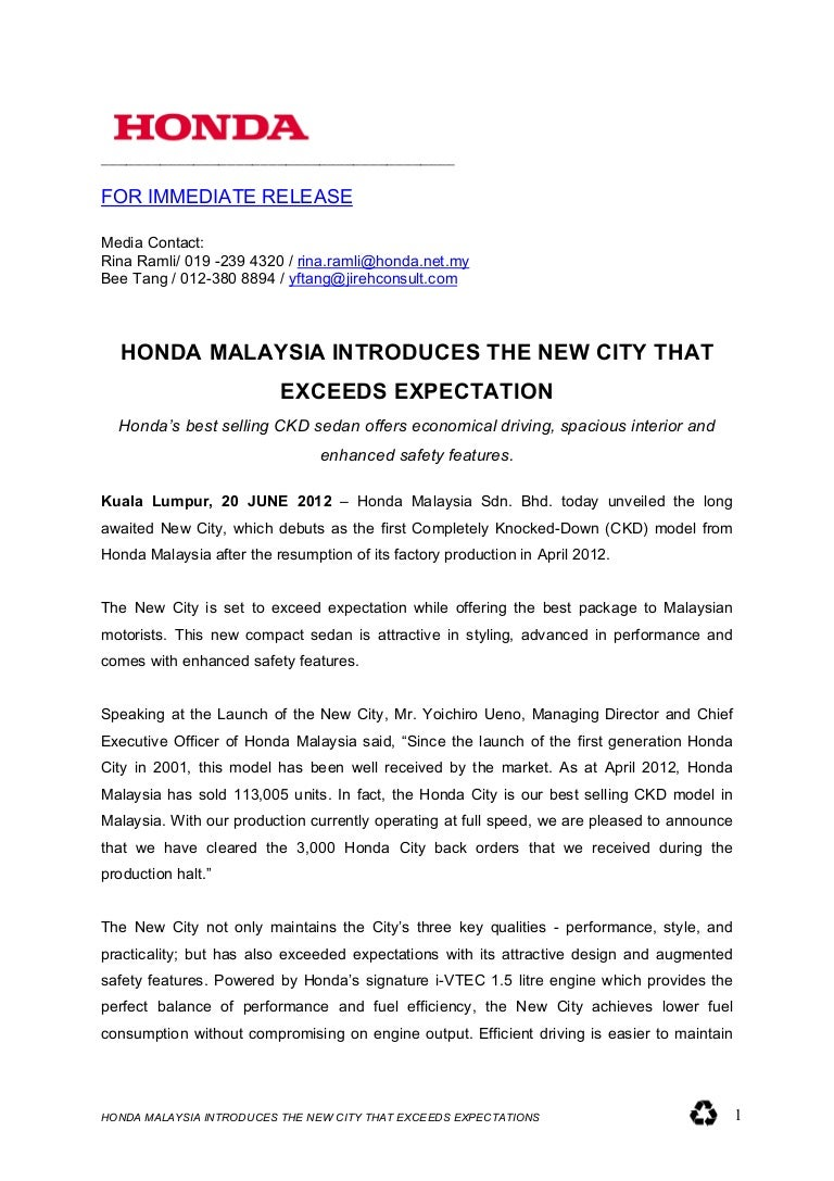 album press release template - honda city minor model change malaysian launch press release
