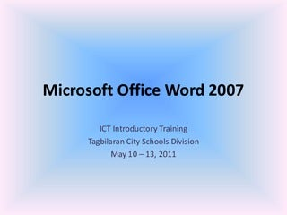 01 microsoft office word 2007 (introduction and parts)