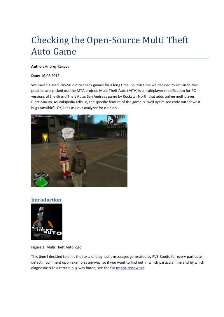 Checking the open-source multi theft auto game.