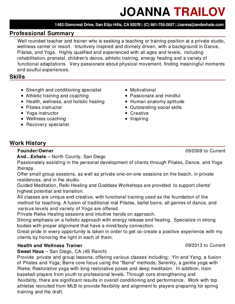 joanna trailov resume 1 - Pilates Instructor Resume