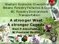 02 22 2013 Elect P. Anna Paddon BC Provincial Election BC Forestry Environment Transportation