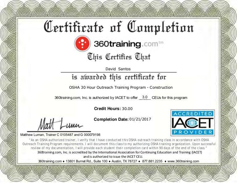Osha Certificate 30 Hr