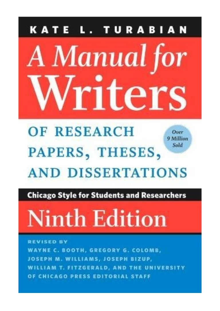 A Manual for Writers of Research Papers, Theses, and Dissertations, Ninth  Edition PDF - Kate L. Turabian Chicago Style for Students and Researchers  (Chicago ...